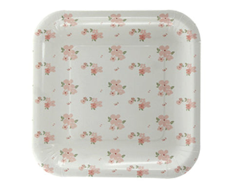 White and Pink Floral Dessert Plates