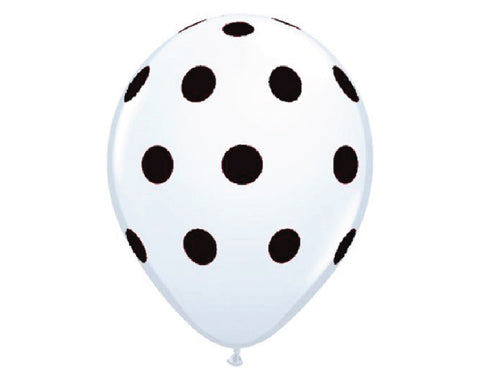 "White with Black Polka Dots 11"" Balloons - Set of 6"