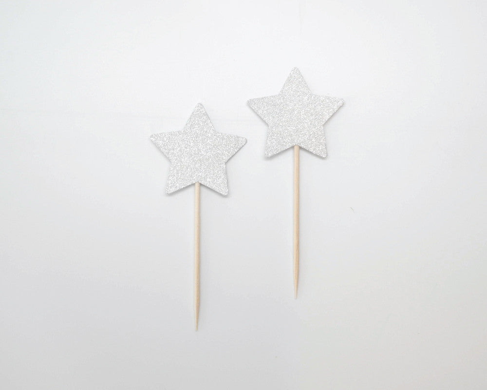 White Glitter Star Cupcake Toppers - Undercover Hostess