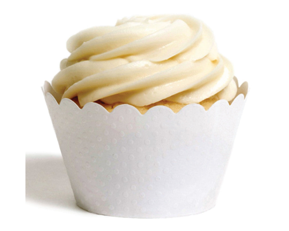 White Tiny Dot Cupcake Wrappers - Undercover Hostess