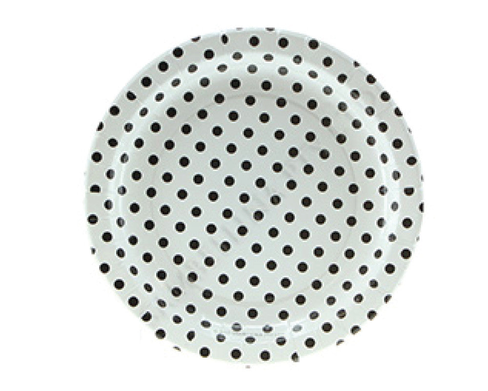 White With Black Polka Dots Paper Plates - Undercover Hostess