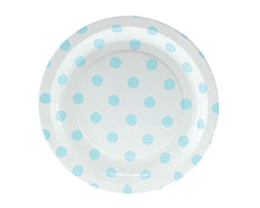White with Blue Polka Dots Dessert Plates - Undercover Hostess