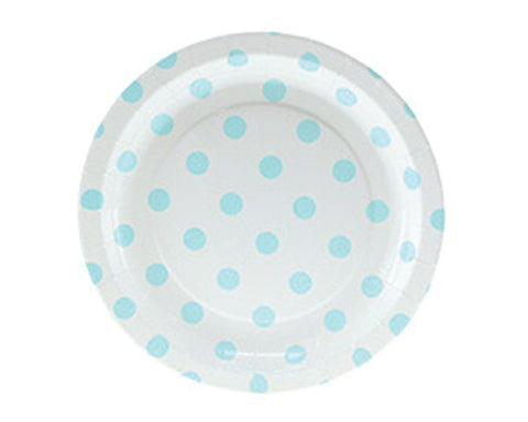 White with Blue Polka Dots Dessert Plates