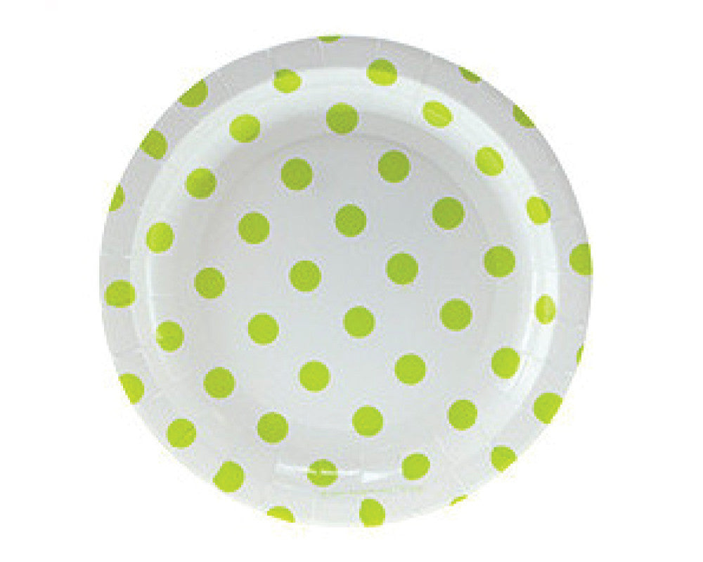 White with Green Polka Dots Dessert Plates - Undercover Hostess