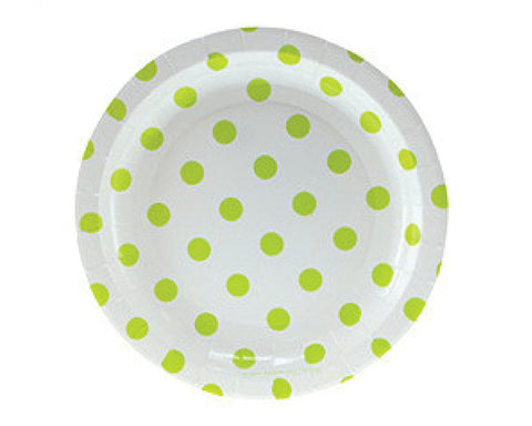 White with Green Polka Dots Dessert Plates