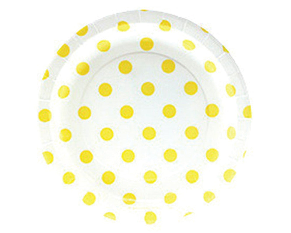 White with Yellow Polka Dots Dessert Plates - Undercover Hostess