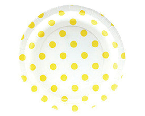 White with Yellow Polka Dots Dessert Plates