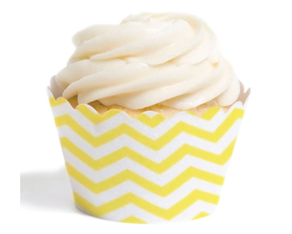 Yellow Chevron Cupcake Wrappers - Undercover Hostess
