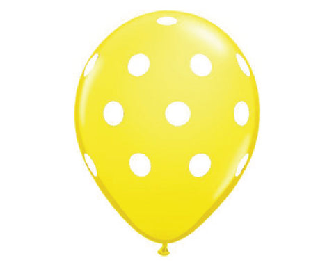 "Yellow Polka Dot 11"" Balloons - Set of 6"