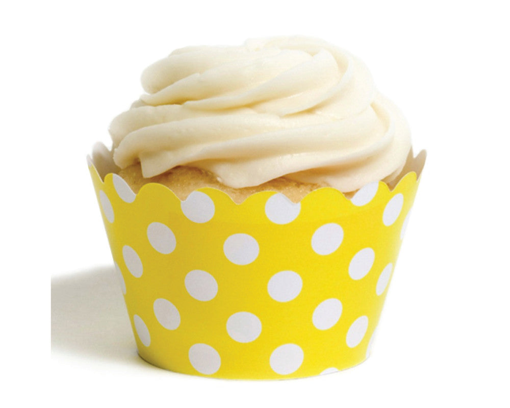Yellow Polka Dot Cupcake Wrappers - Undercover Hostess