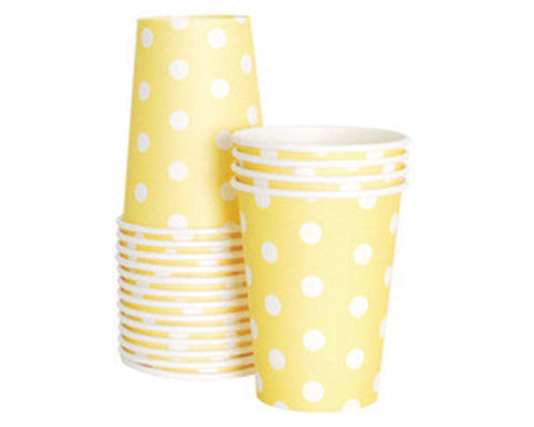 Yellow Polka Dot Paper Cups