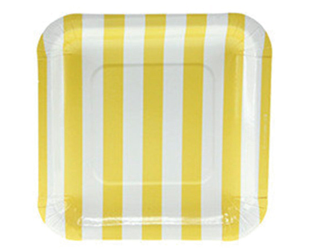 Yellow Striped Square Dessert Plates - Undercover Hostess