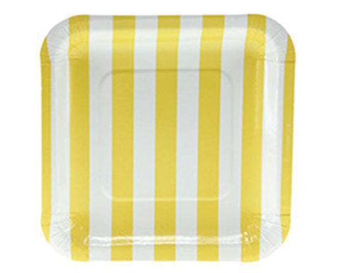 Yellow Striped Square Dessert Plates