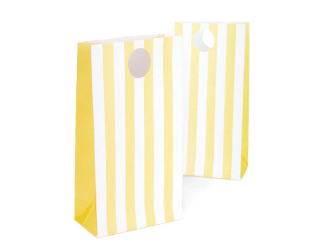 Yellow Stripe Favor Bags - Undercover Hostess