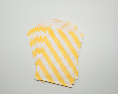 Small Yellow Stripe Favor Bags