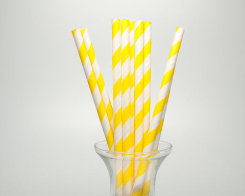 Bright Yellow Striped Straws