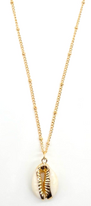 Ivory B: Dotted Gold Ivory Cowry Shell Necklace
