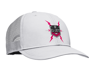 White custom Daddy Yankee mesh hat with El Jefe Museum front logo