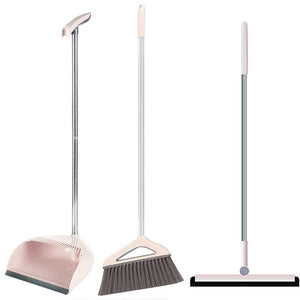 Foldable Household Cleaning Tools Stainless Steel PP Plastic Broom Combination Soft Hair Clean and Dustless Broom Dustpan Suit