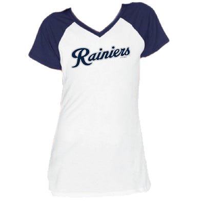 Tacoma Rainiers Navy Youth Girls Raglan Tee