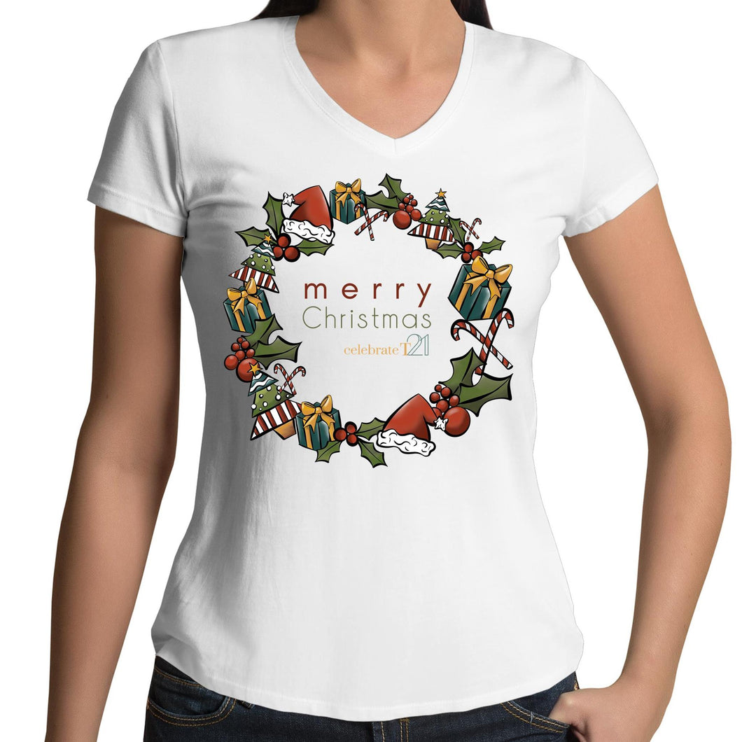 Christmas - 'Celebrate T21 Christmas Wreath'  AS Colour Bevel - Womens V-Neck T-Shirt