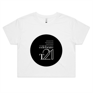 'Celebrate T21' White Only  - AS Colour - Womens Crop Tee