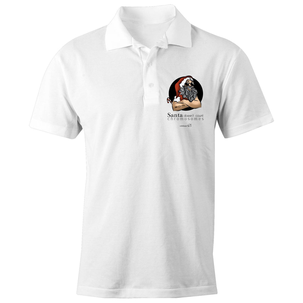 Christmas 'Santa Doesn't Count Chromosomes'  AS Colour Chad - S/S Polo Shirt