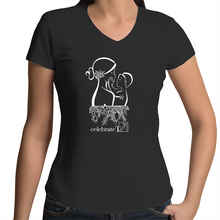 Load image into Gallery viewer, 'Mother & Son' in Black or White - AS Colour Bevel - Womens V-Neck T-Shirt