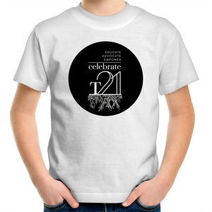 'Celebrate T21 with Flowers' White Only - AS Colour Kids Youth Crew T-Shirt