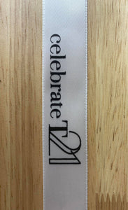 1Meter of Arrow OR  Celebrate T21 25mm Satin Ribbon