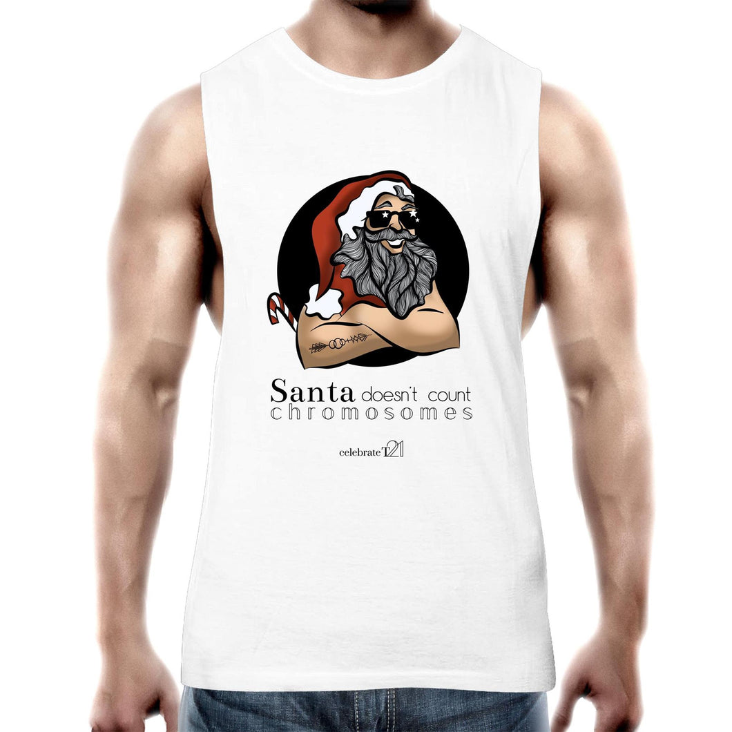 Christmas - 'Santa Doesn't Count Chromosomes' AS Colour Barnard - Mens Tank Top Tee