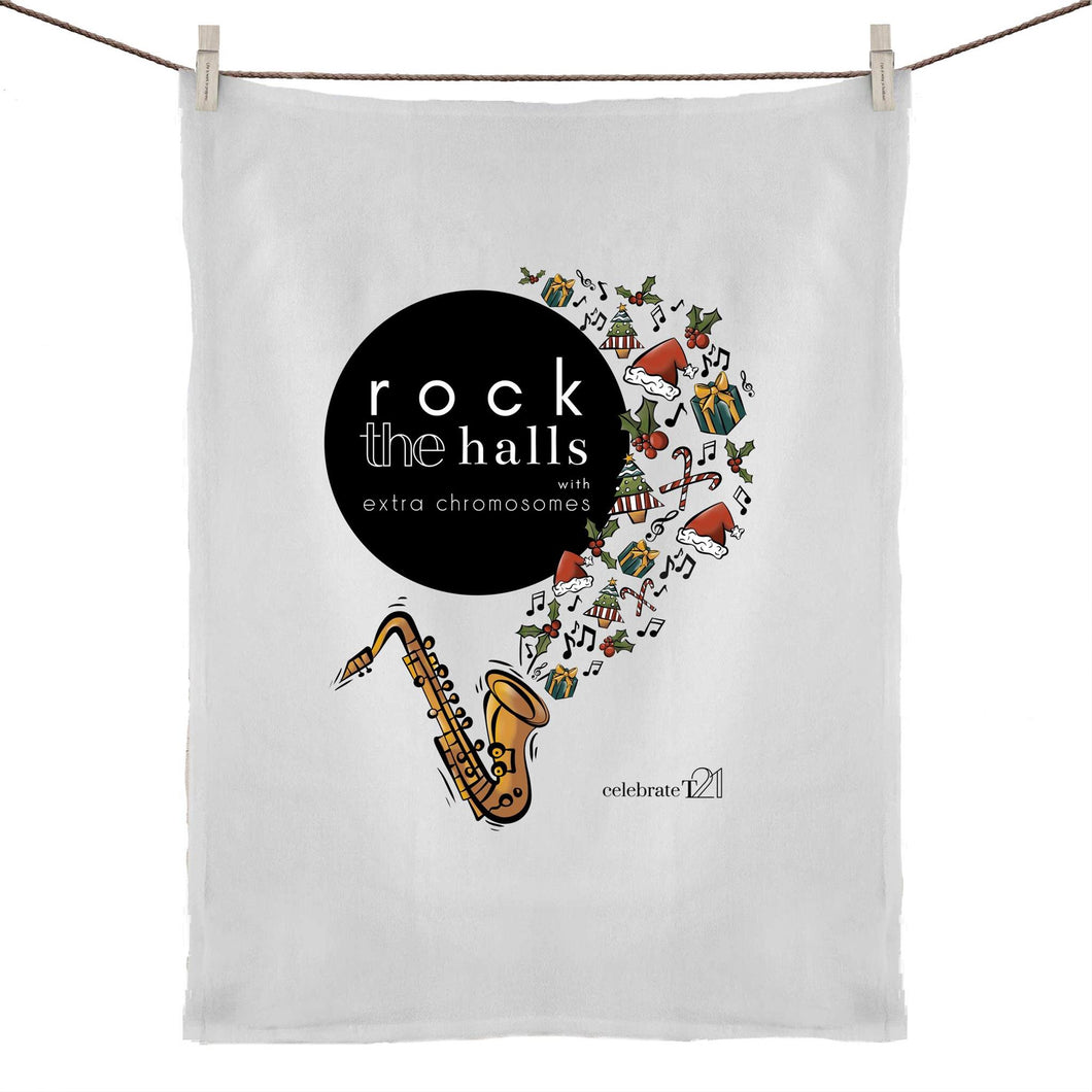 Rock The Halls  50% Linen 50% Cotton Tea Towel