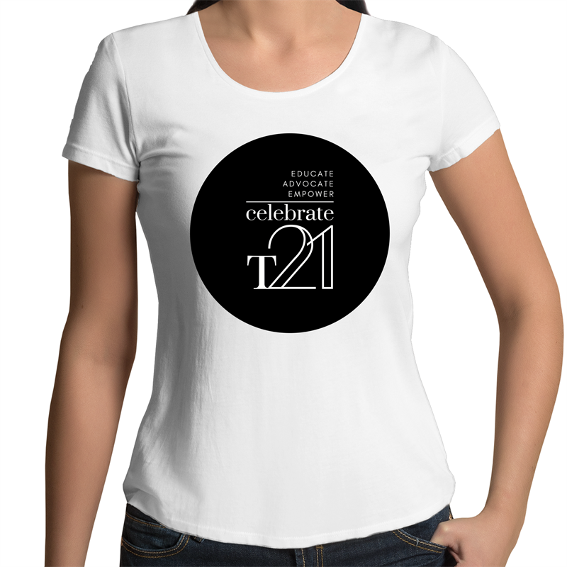 'Celebrate T21' White Only  - AS Colour Mali - Womens Scoop Neck T-Shirt