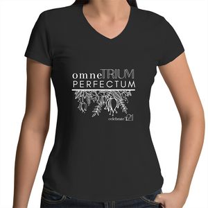 'OTP Flowers' in Black or White - AS Colour Bevel - Womens V-Neck T-Shirt