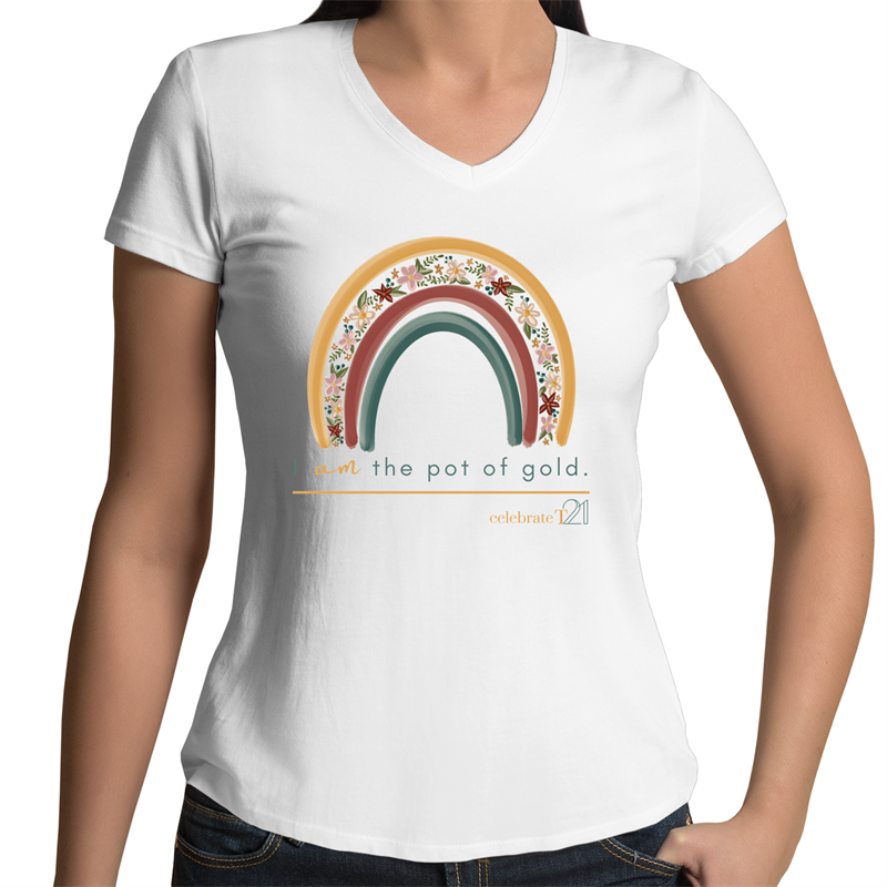 Rainbow Floral  - AS Colour Bevel - Womens V-Neck T-Shirt