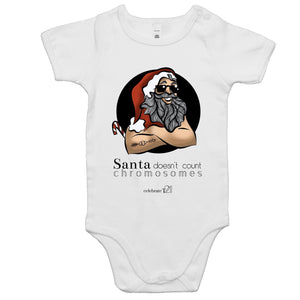 Christmas - 'Santa Doesn't Count Chromosomes' AS Colour Mini Me - Baby Onesie Romper