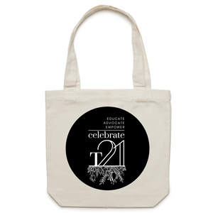 'Celebrate T21 with Flowers'  - AS Colour - Carrie - Canvas Tote Bag