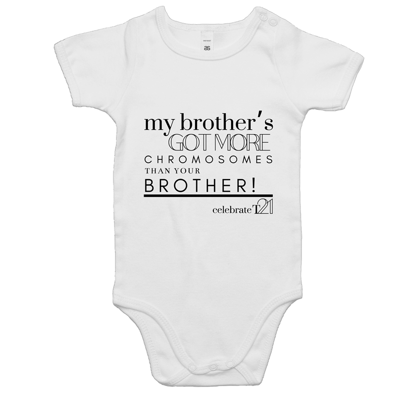 'My Brother' in White ONLY - AS Colour Mini Me - Baby Onesie Romper