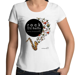 Rock The Halls - 2 designs Colour Mali - Womens Scoop Neck T-Shirt
