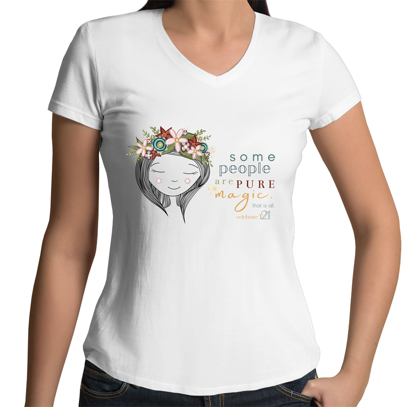 Some People Girl- AS Colour Bevel - Womens V-Neck T-Shirt