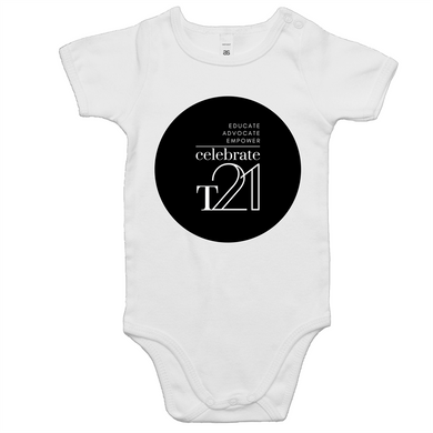 'Celebrate T21' White Only  - AS Colour Mini Me - Baby Onesie Romper