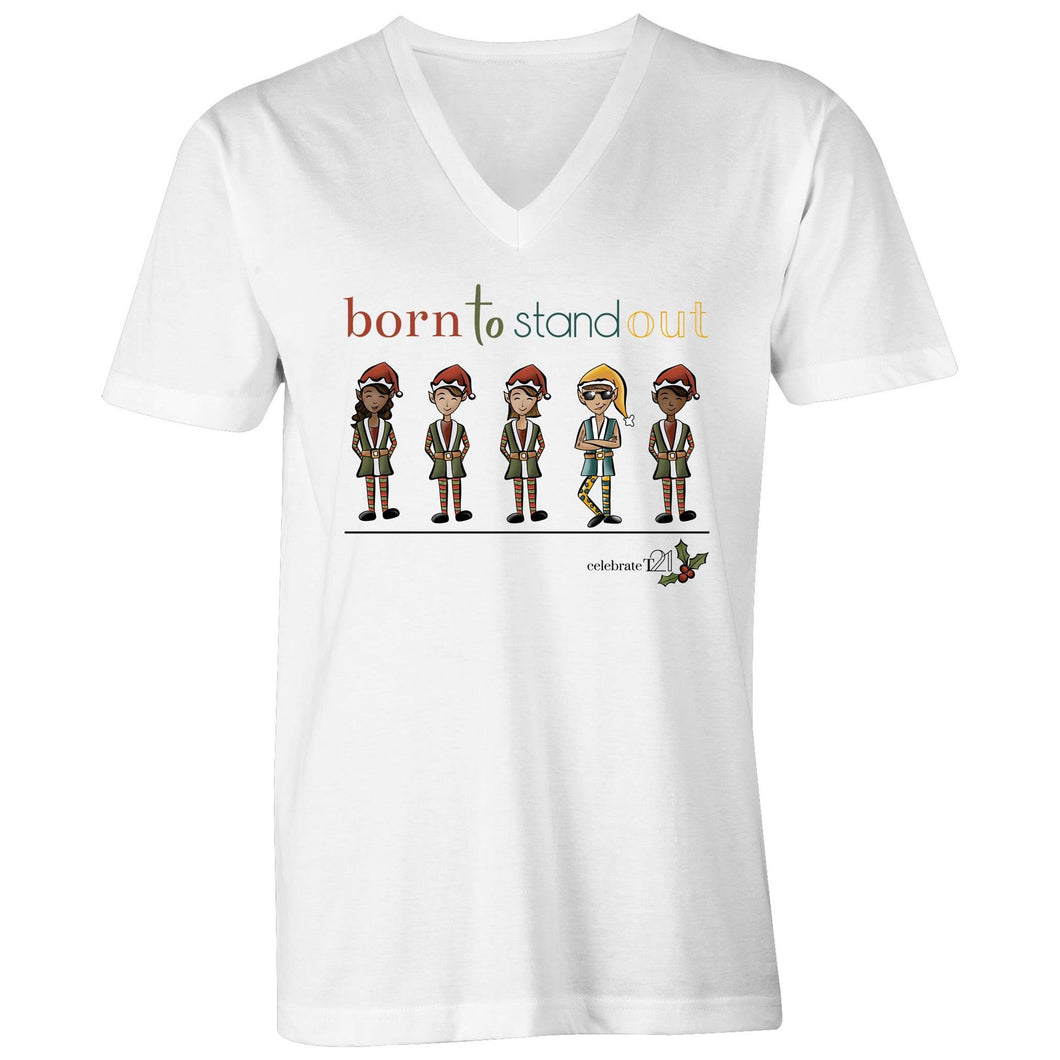 Christmas - 'Born To Stand Out' – Boy AS Colour Tarmac - Mens V-Neck Tee