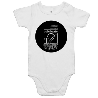 'Celebrate T21 with Flowers' White Only - AS Colour Mini Me - Baby Onesie Romper