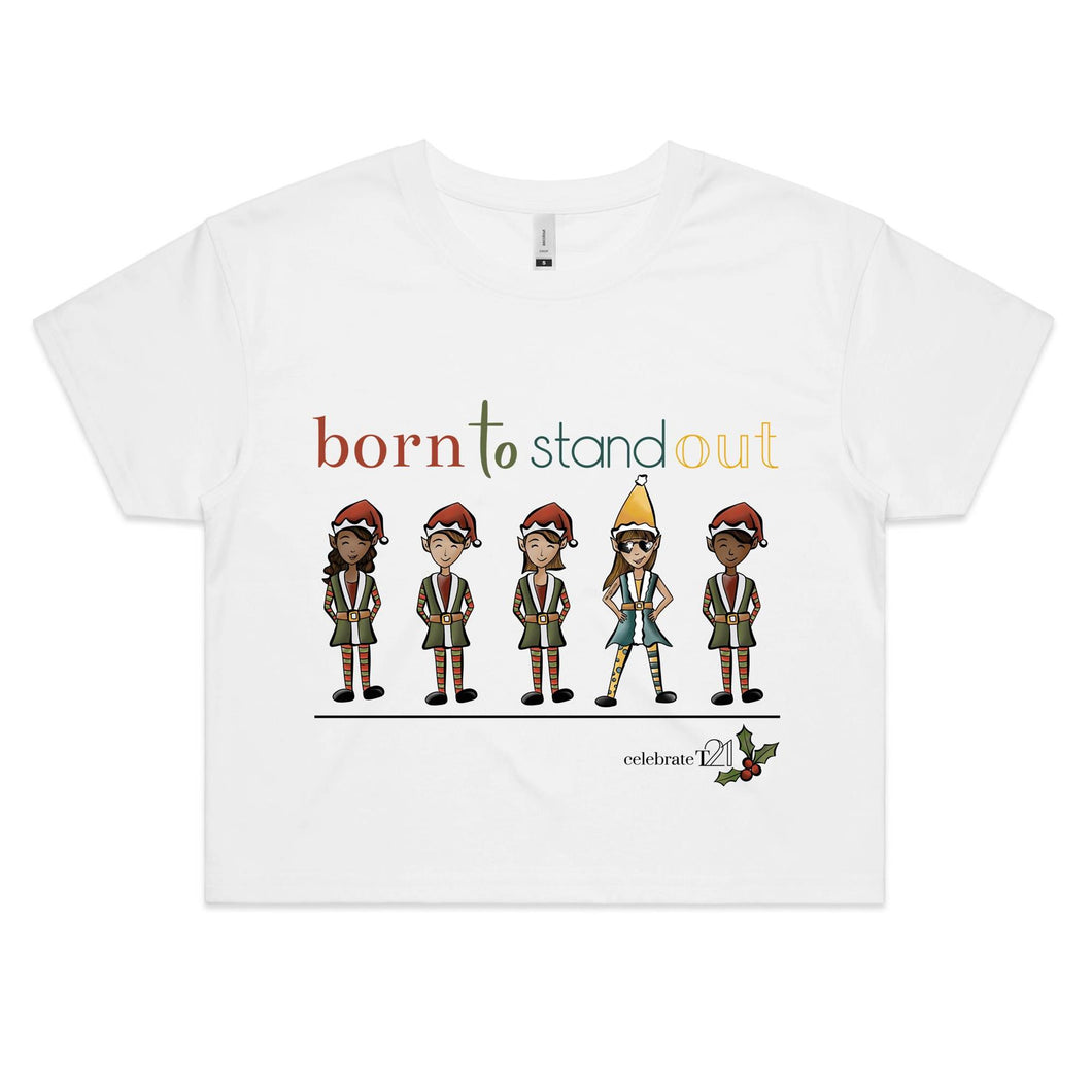 Christmas – 'Born To Stand Out' – Girl  AS Colour - Womens Crop Tee