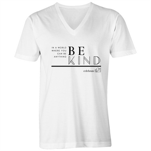'Be Kind' in Black or White - AS Colour Tarmac - Mens V-Neck Tee