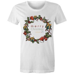 Christmas - 'Celebrate T21 Christmas Wreath'  Sportage Surf - Womens T-shirt