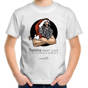 Christmas - 'Santa Doesn't Count Chromosomes' AS Colour Kids Youth Crew T-Shirt