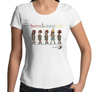 Christmas – 'Born To Stand Out' – Girl AS Colour Mali - Womens Scoop Neck T-Shirt