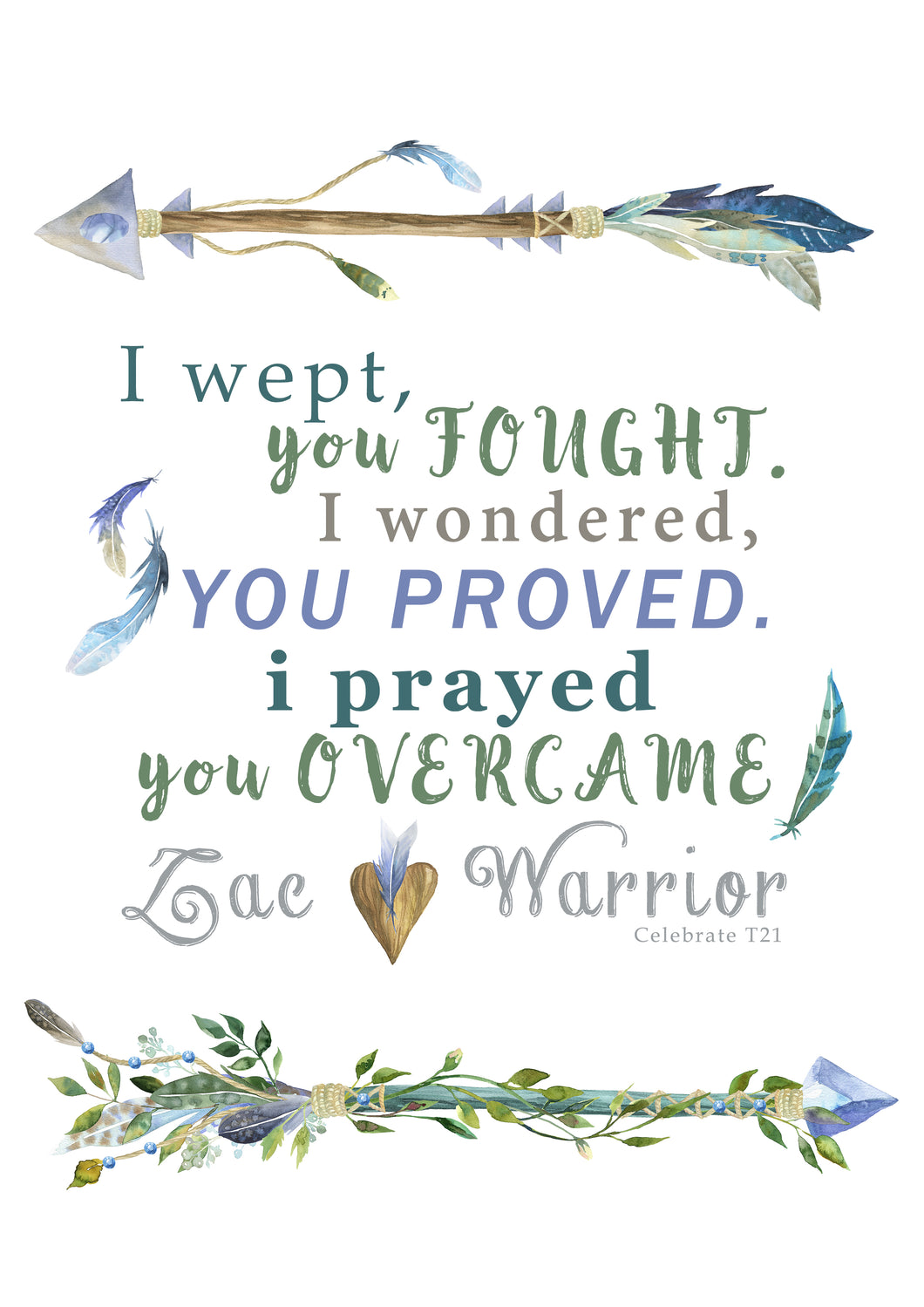Personalised Prints - Heart Warrior Green/Blue