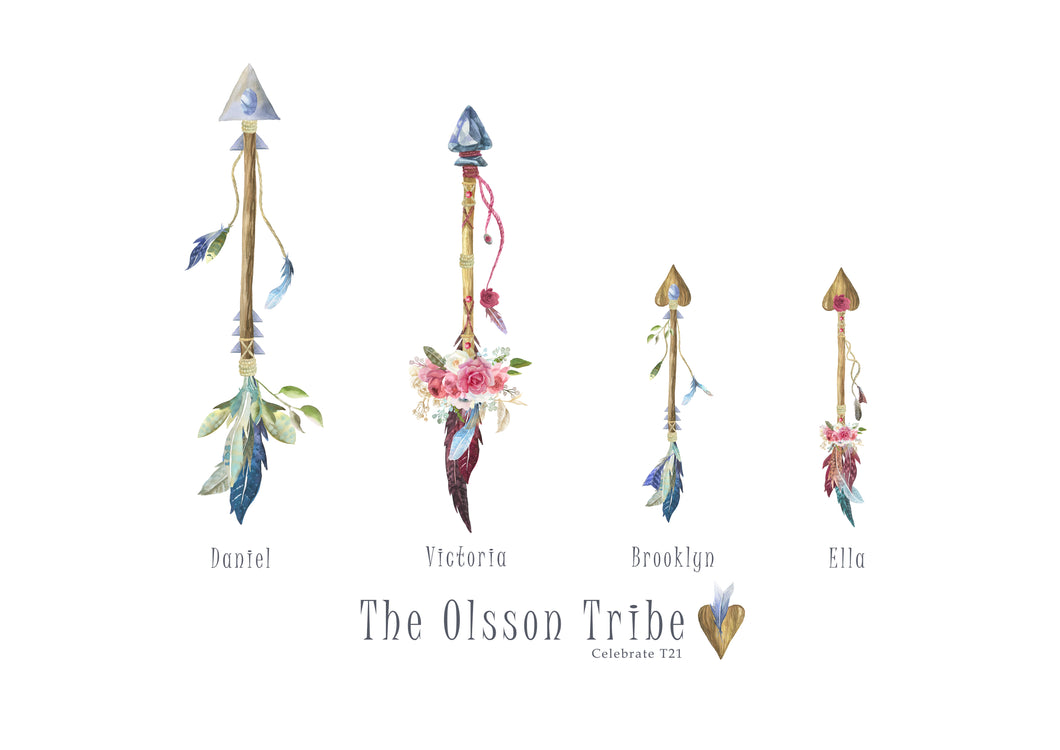 My Tribe Personalised Print  - 4 ARROWS Emblished